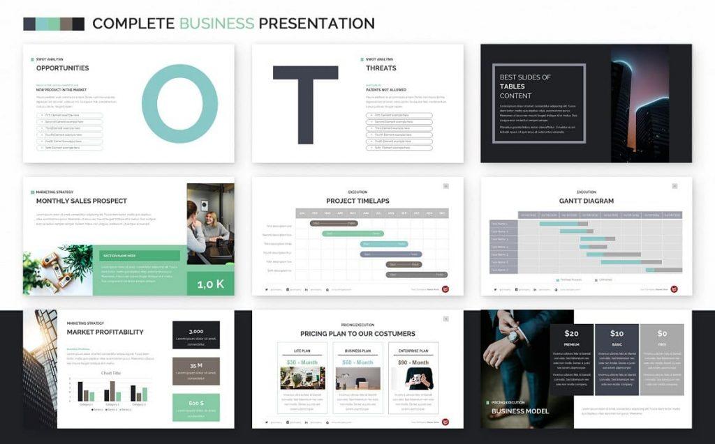 Gantt Diagram Complete Business Powerpoint Template.