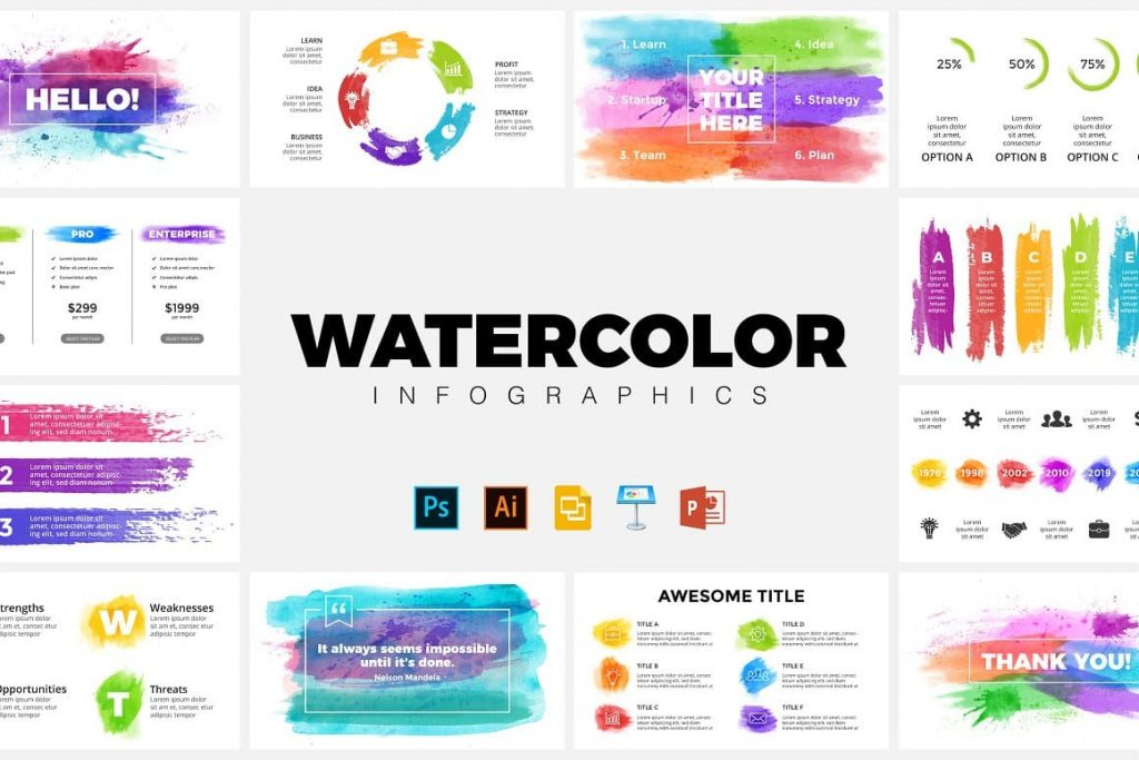 Watercolor Infographic Templates Cover.