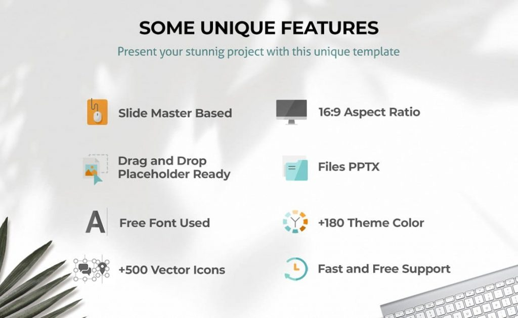 Features of Ginger Powerpoint Presentation Template.