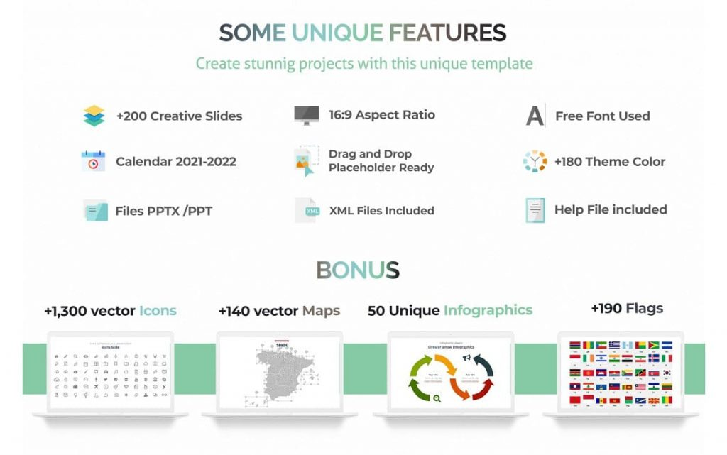 Unique Features of Complete Business Powerpoint Template.