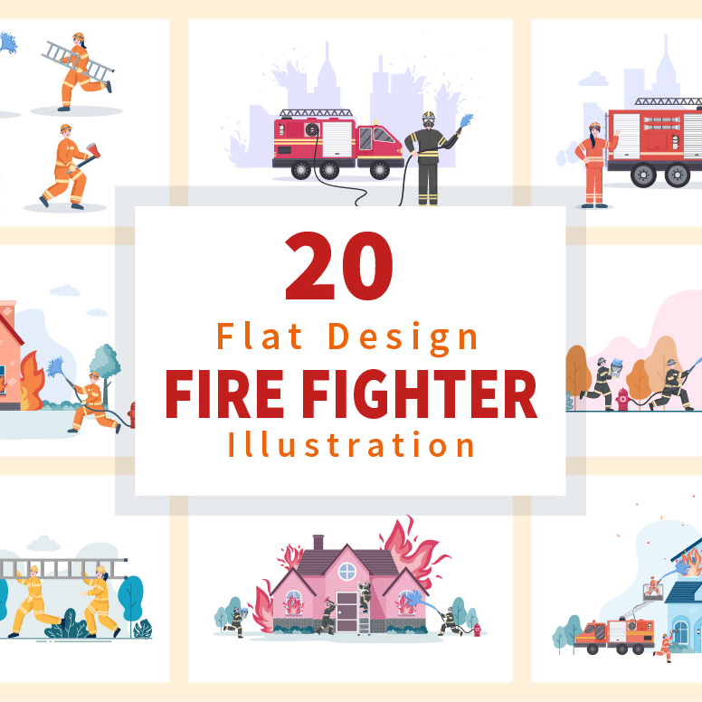 20 Group of Firefighters Illustration cover.