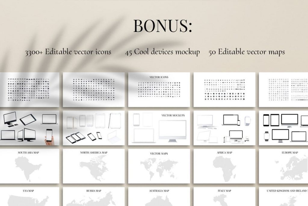 Icons, Mockups & World Maps Glorious PowerPoint Template.