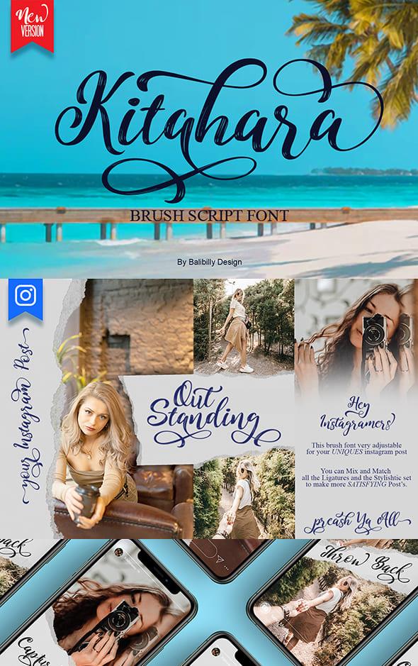 Pinterest Collage Image for Kitahara Brush Script Font.