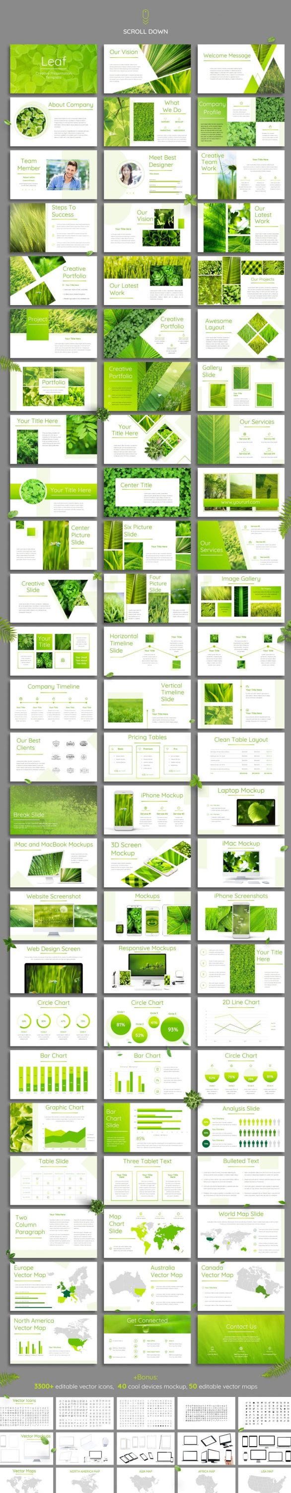 Preview of all Leaf slides - Powerpoint Template.