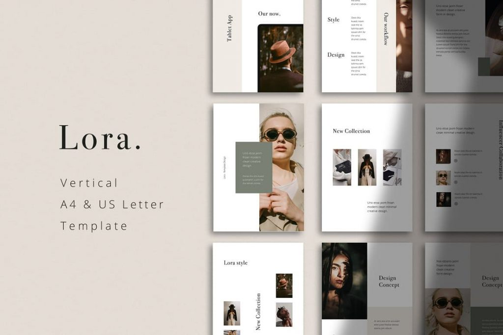 LORA - Vertical A4 + US Letter Keynote Template.
