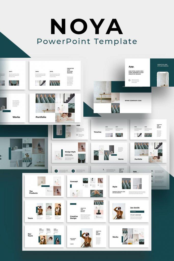 NOYA - Powerpoint Template by MasterBundles Pinterest Collage Image.
