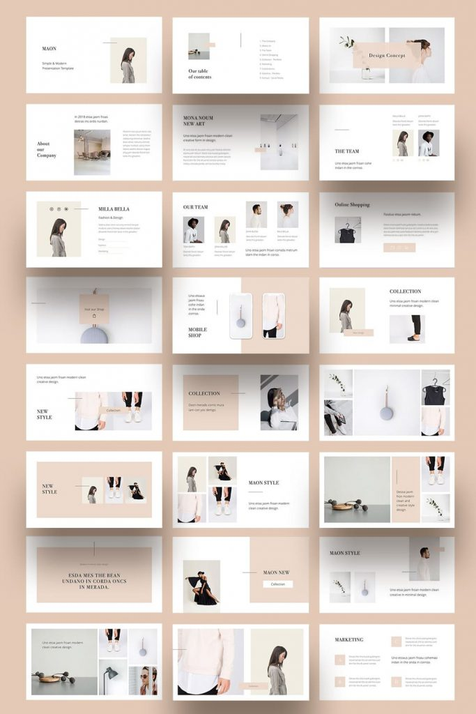 MAON - Powerpoint Template by MasterBundles Pinterest Collage Image.