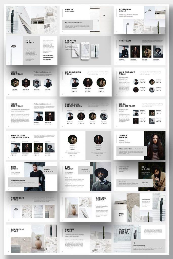 NORS Powerpoint Template + Big Bonus by MasterBundles Pinterest Collage Image.