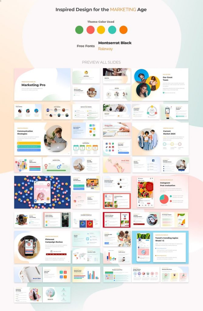 Slide preview Marketing PRO Powerpoint Template.