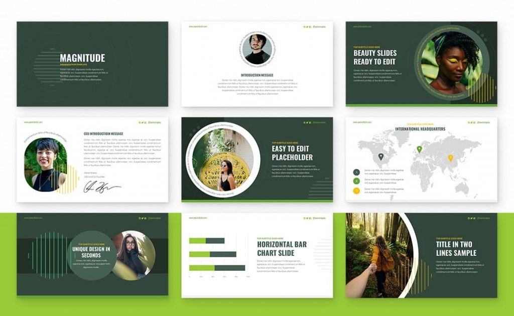 Contents Magnitude Powerpoint Presentation Template.