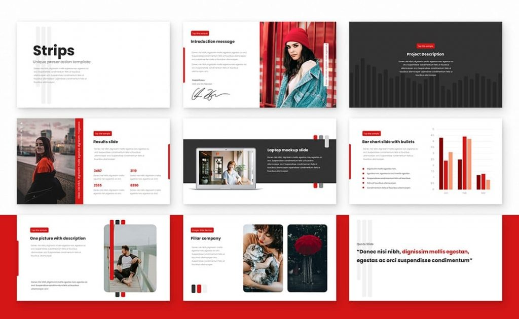 Sample Slides for Strips Class Powerpoint Presentation Template.