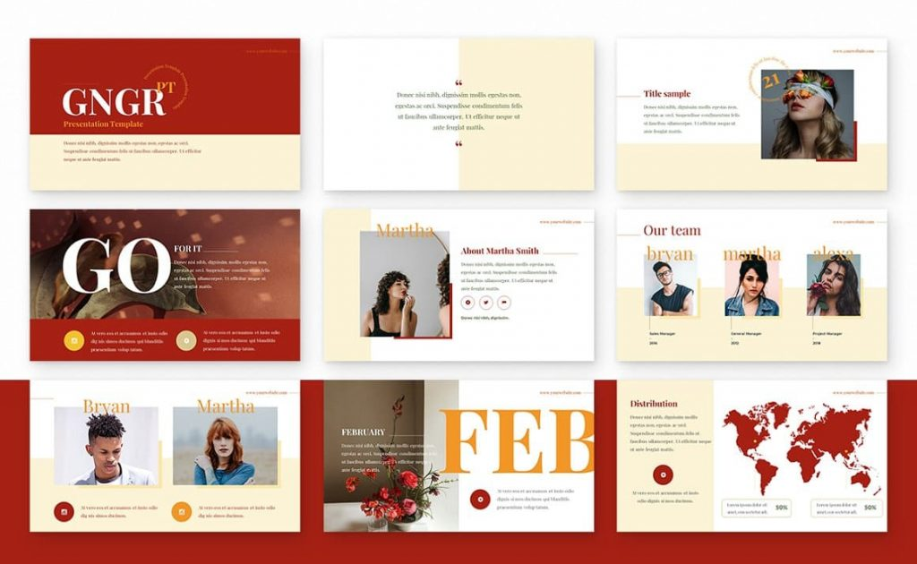 Fully editable Ginger Powerpoint Presentation Template.