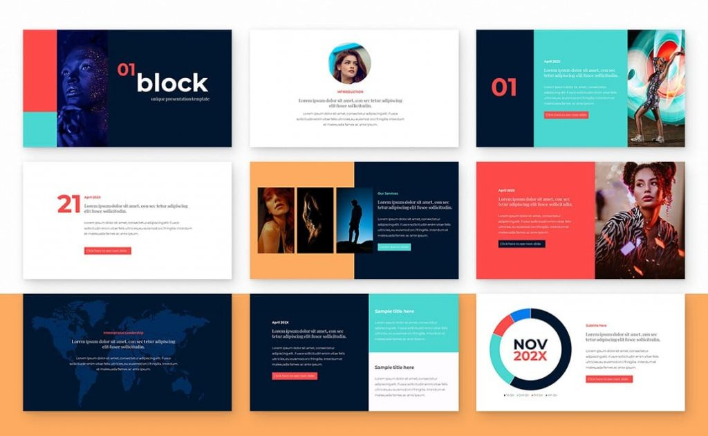 Content of the Block Powerpoint Presentation Template slides.