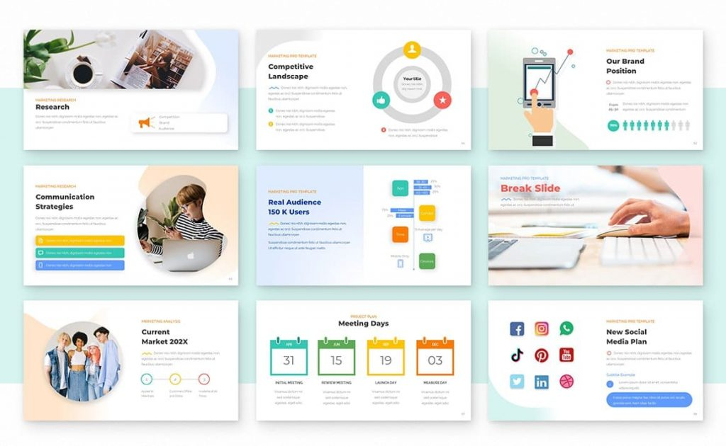 Marketing slides for Marketing PRO Powerpoint Template.