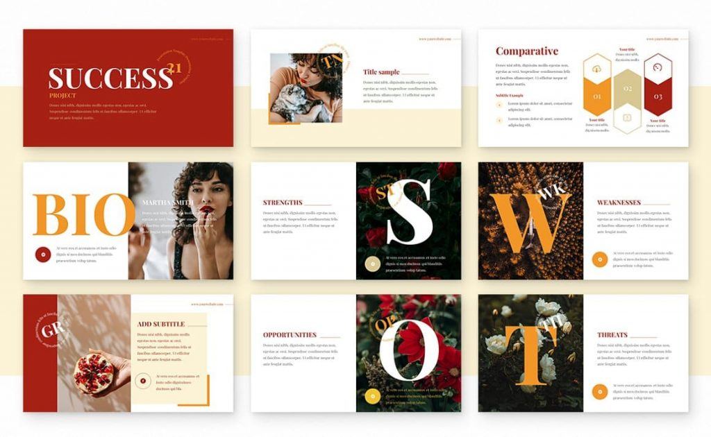 Contents of the Ginger Powerpoint Presentation Template.