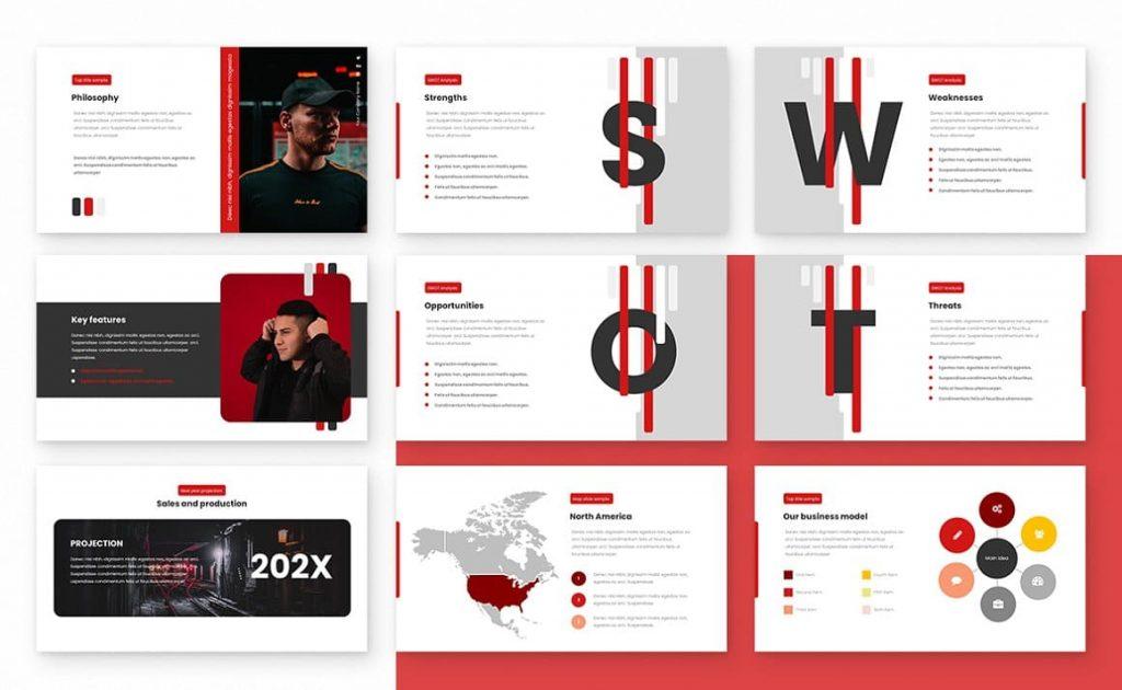 Content Strips Class Powerpoint Presentation Template.