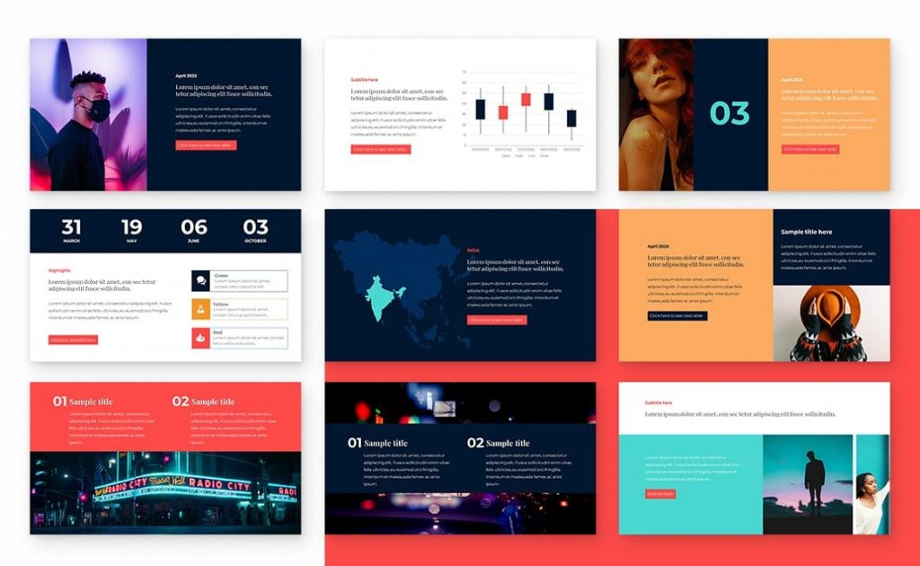 9 slides Block Powerpoint Presentation Template.
