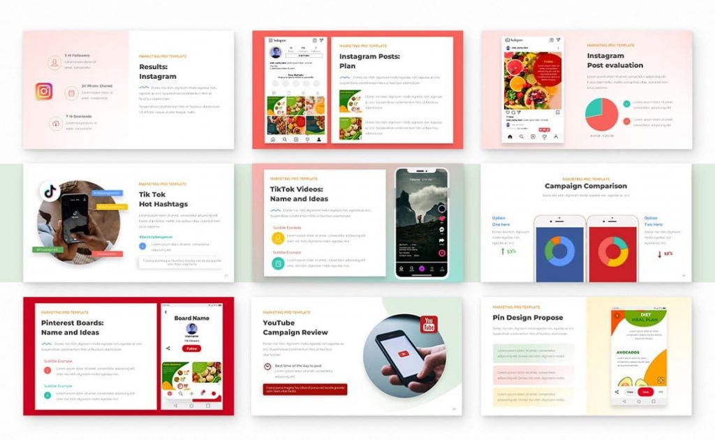 Social Media Plan Marketing PRO Powerpoint Template.