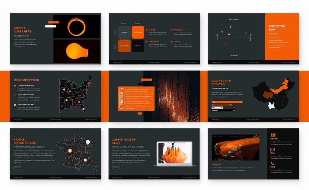 Slides from maps Agenda Powerpoint Presentation.
