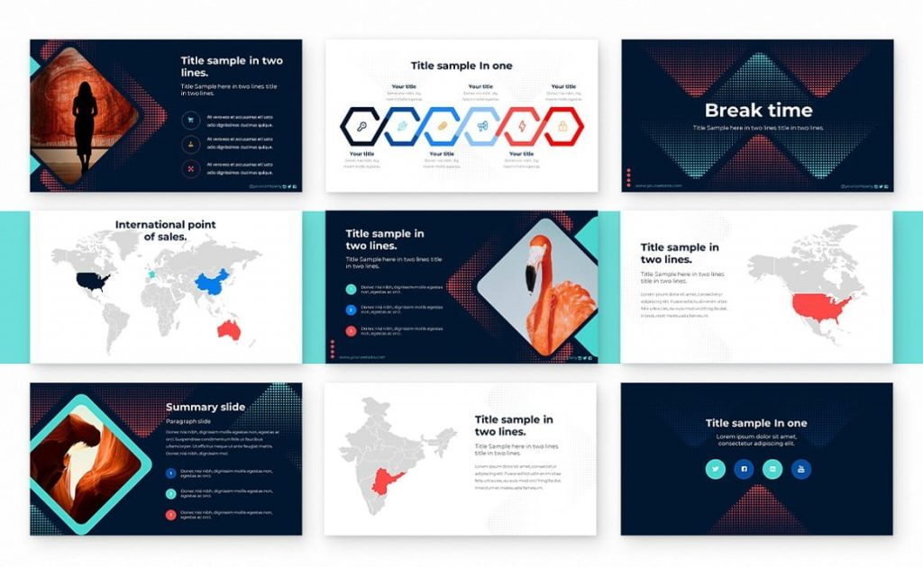 Slides Break and Map Range Point Powerpoint Presentation Template.