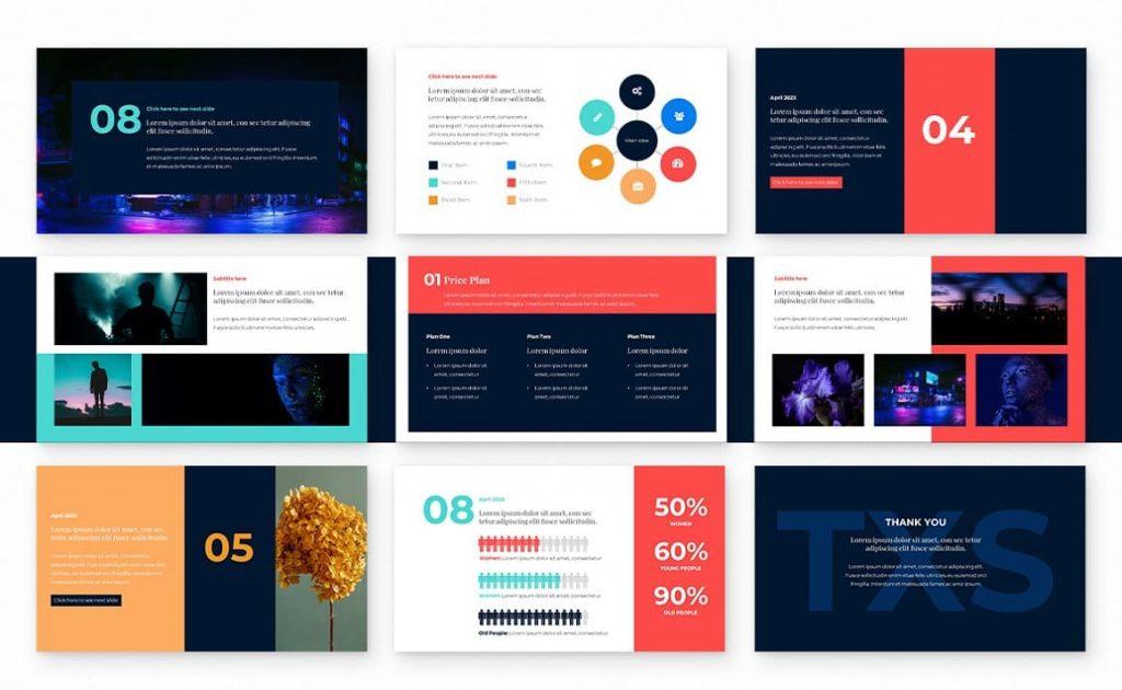 Infographic Slides Block Powerpoint Presentation Template.