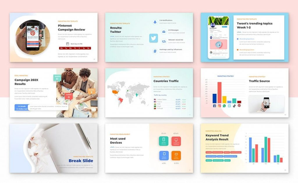 180 Theme Colors Marketing PRO Powerpoint Template.