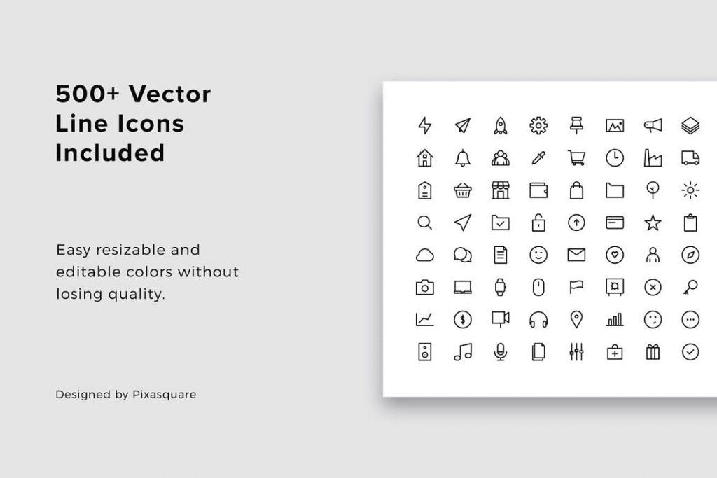 BONUS: 500+ Vector Line Ikons NOY - Powerpoint Templates.