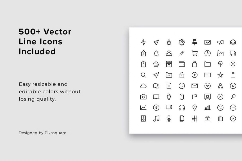 Presentations include 500+ vector line icons.