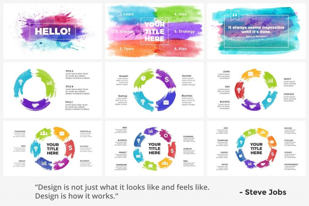 Header and Quote Slides Watercolor Infographic Templates.