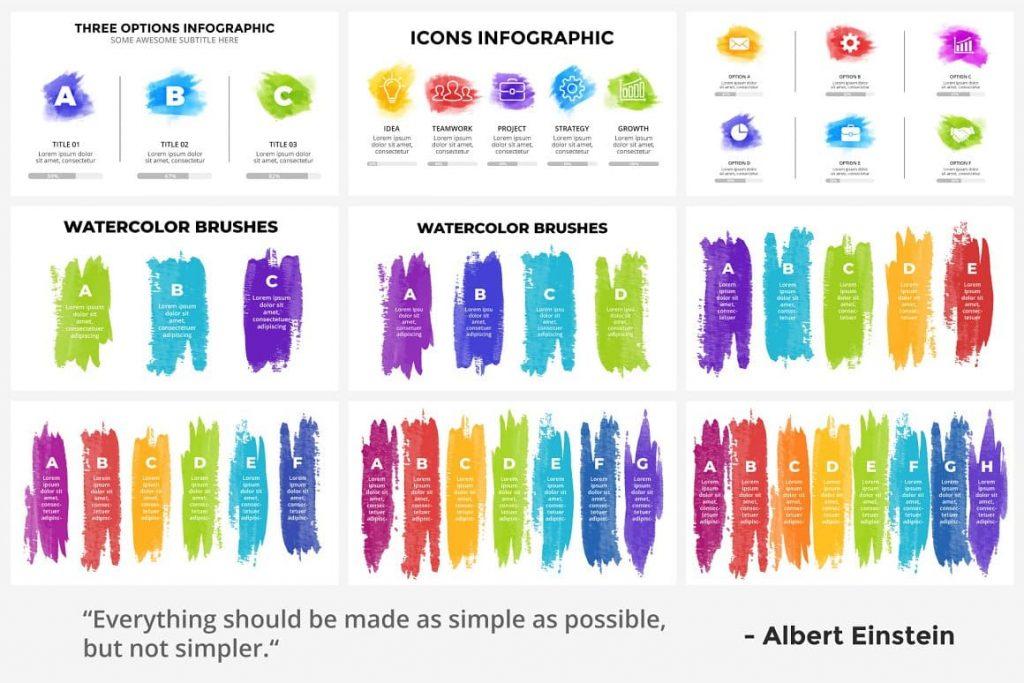 Brush Stroke Slides Watercolor Infographic Templates.