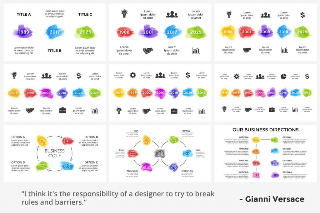 Editable Icons Watercolor Infographic Templates.
