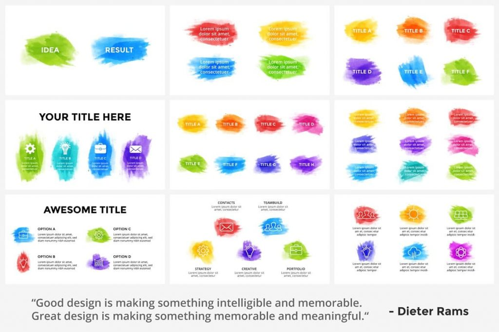 Brush strokes are enhanced and not editable Watercolor Infographic Templates.