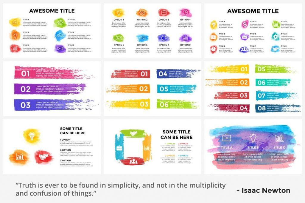 Preview of the content of Watercolor Infographic Templates.