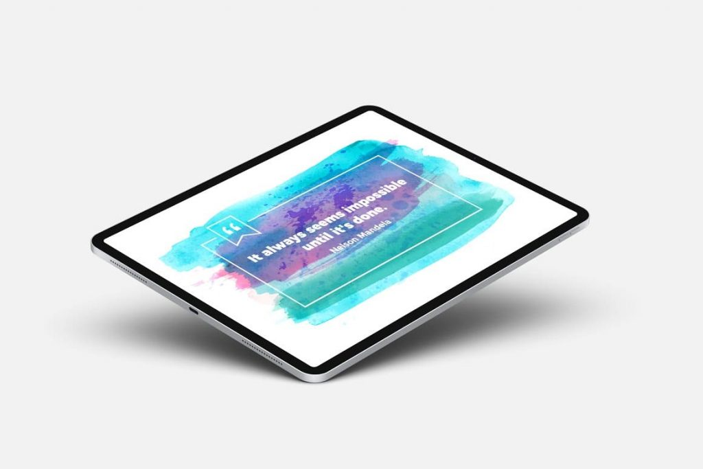 Preview on tablet Watercolor Infographic Templates.