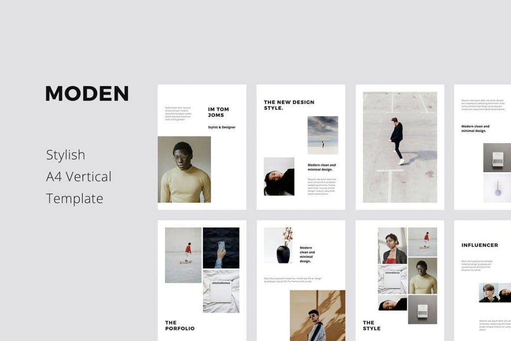 MODEN - Clean and Stylish A4 Vertical Powerpoint Presentation Template.