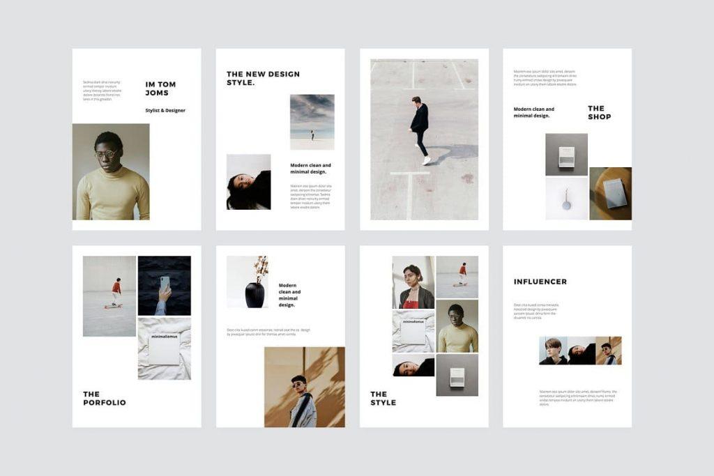 Portfolio & Influencer Slides MODEN - Powerpoint Vertical Template.