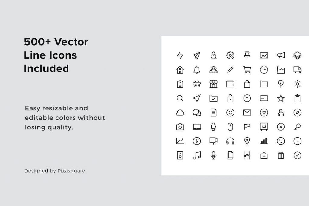 500+ Vector Line Icons in slides included MODEN - Powerpoint Vertical Template.