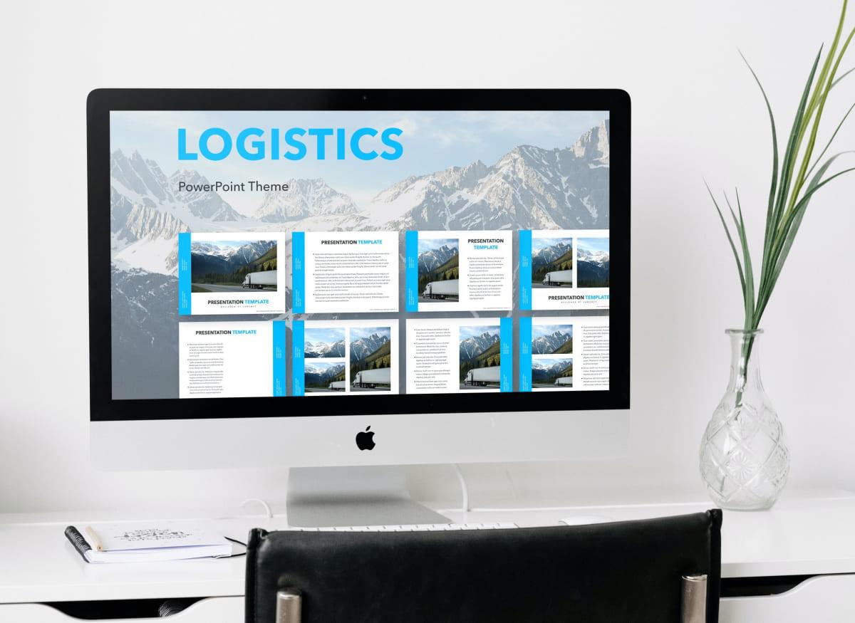 Logistics PowerPoint Theme by MasterBundles Desktop preview mockup image.