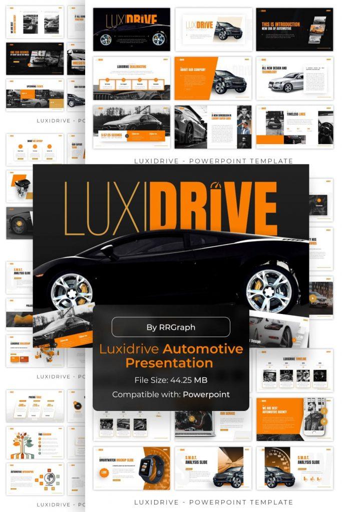 Luxidrive Automotive Presentation by MasterBundles Pinterest Collage Image.