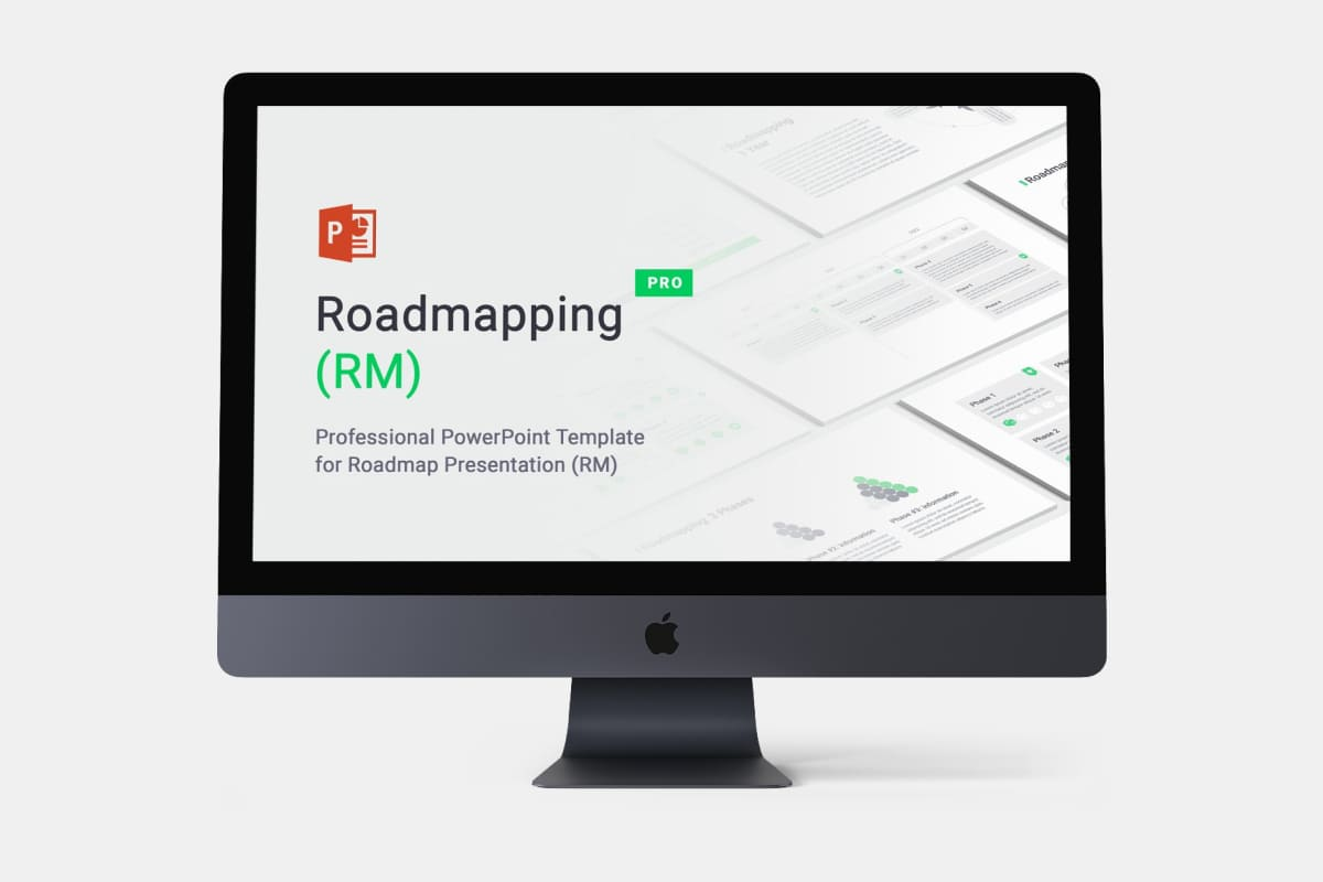 Roadmapping for PowerPoint by MasterBundles Desktop preview mockup image.