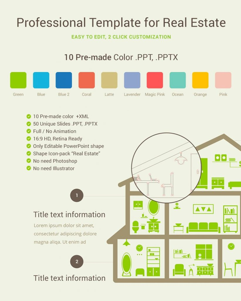 10 Real Estate PowerPoint Template Color Schemes.