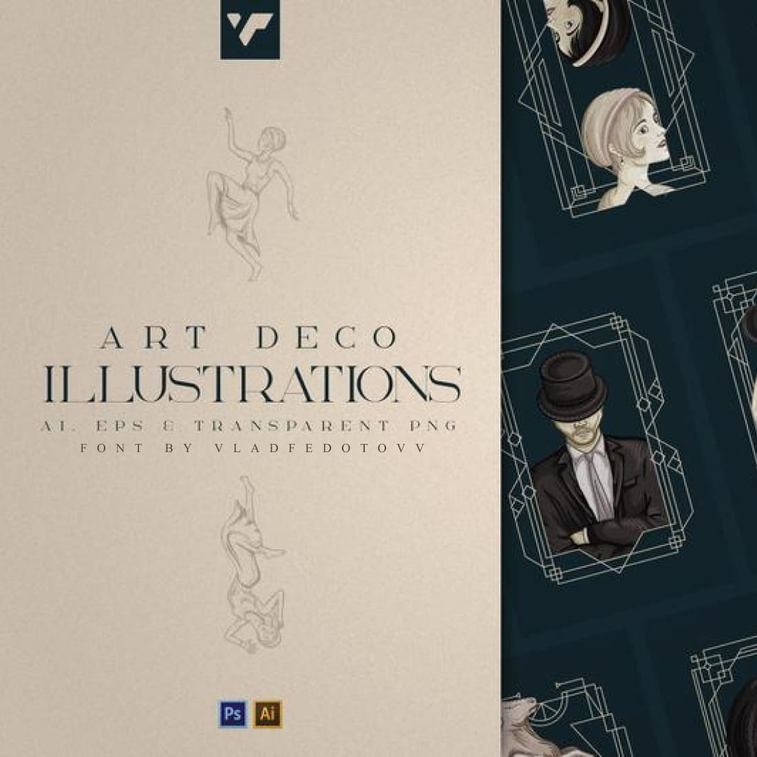 Art Deco illustrations – Ai EPS PSD cover image.