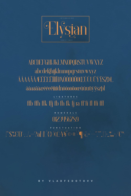 Elysian – Serif Font vintage Pinterest preview.