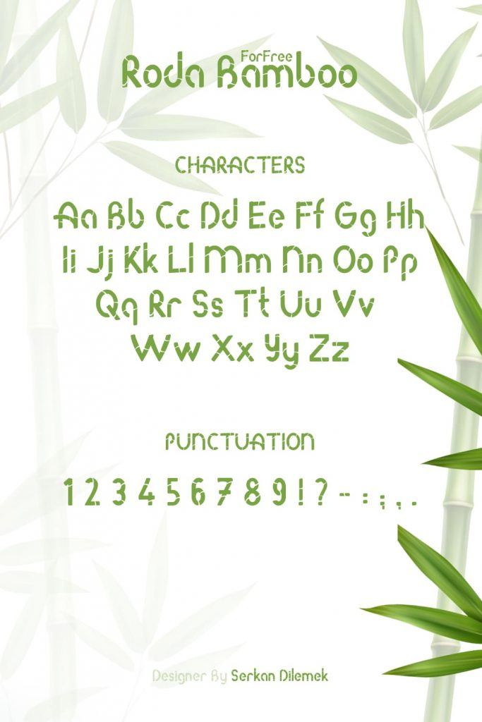 MasterBundles Free Bamboo Font Pinterest Characters and Punctuation Preview.