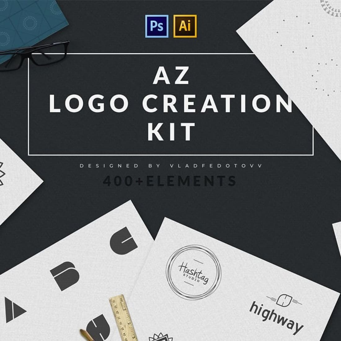 Logo Creation Kit 409 Elements – just 5 cover image.
