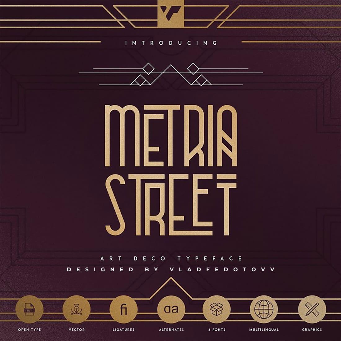 Metria Street – Art Deco Typeface cover image.