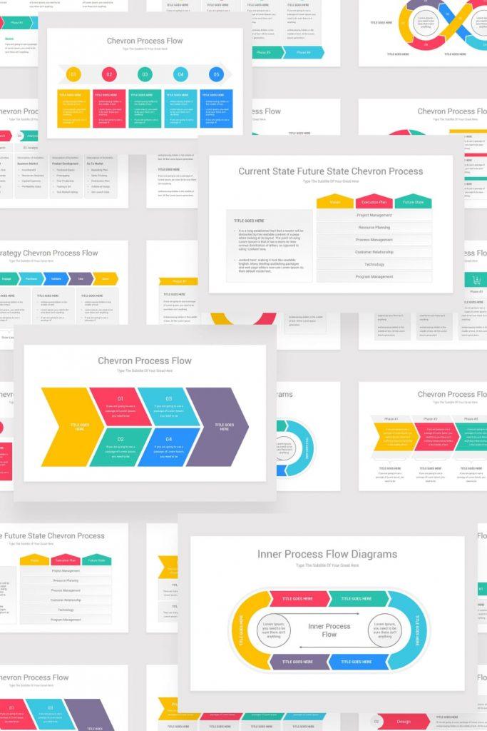 Chevron Process Flow PowerPoint by MasterBundles Pinterest Collage Image.