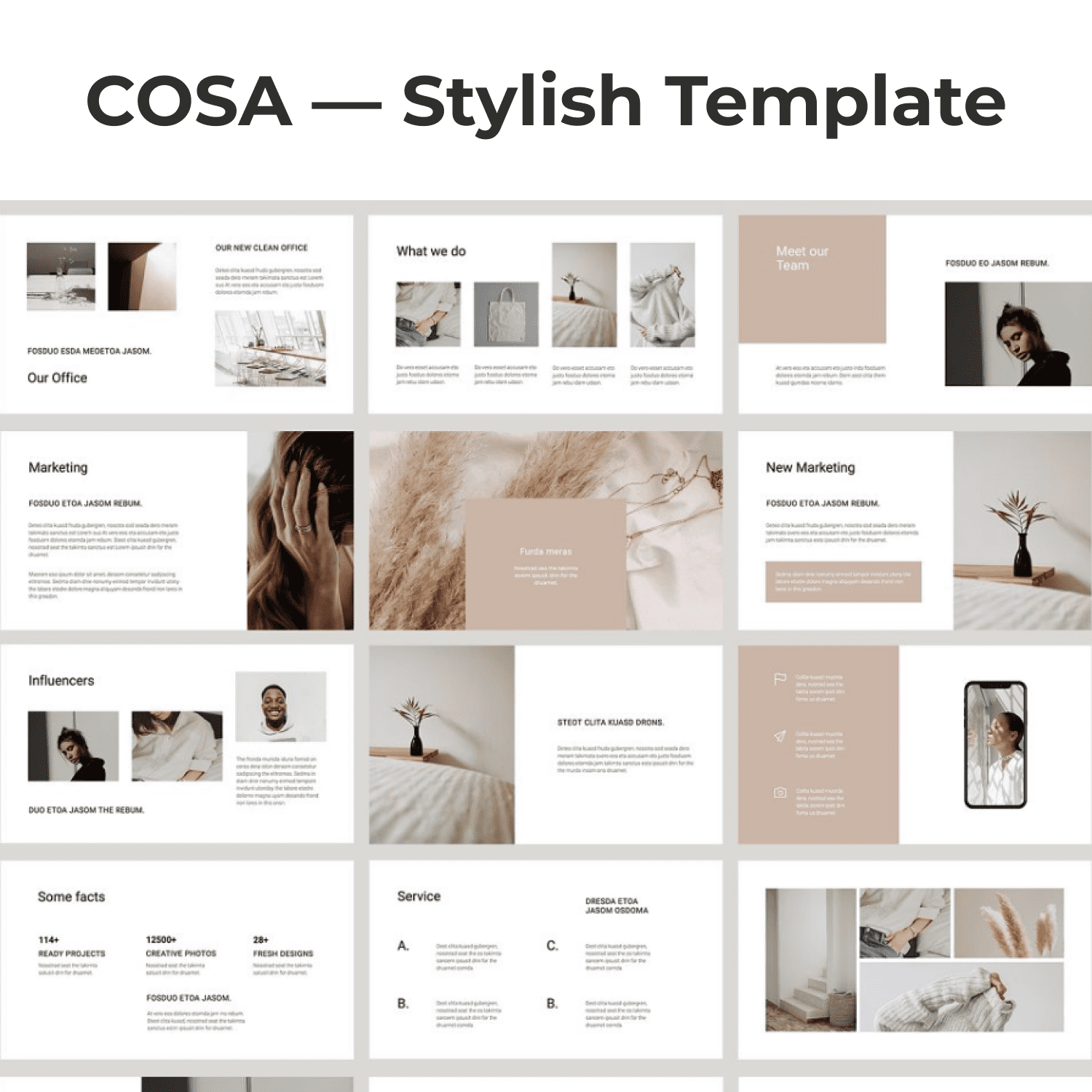 COSA - Keynote Style Template by MasterBundles Collage Image.