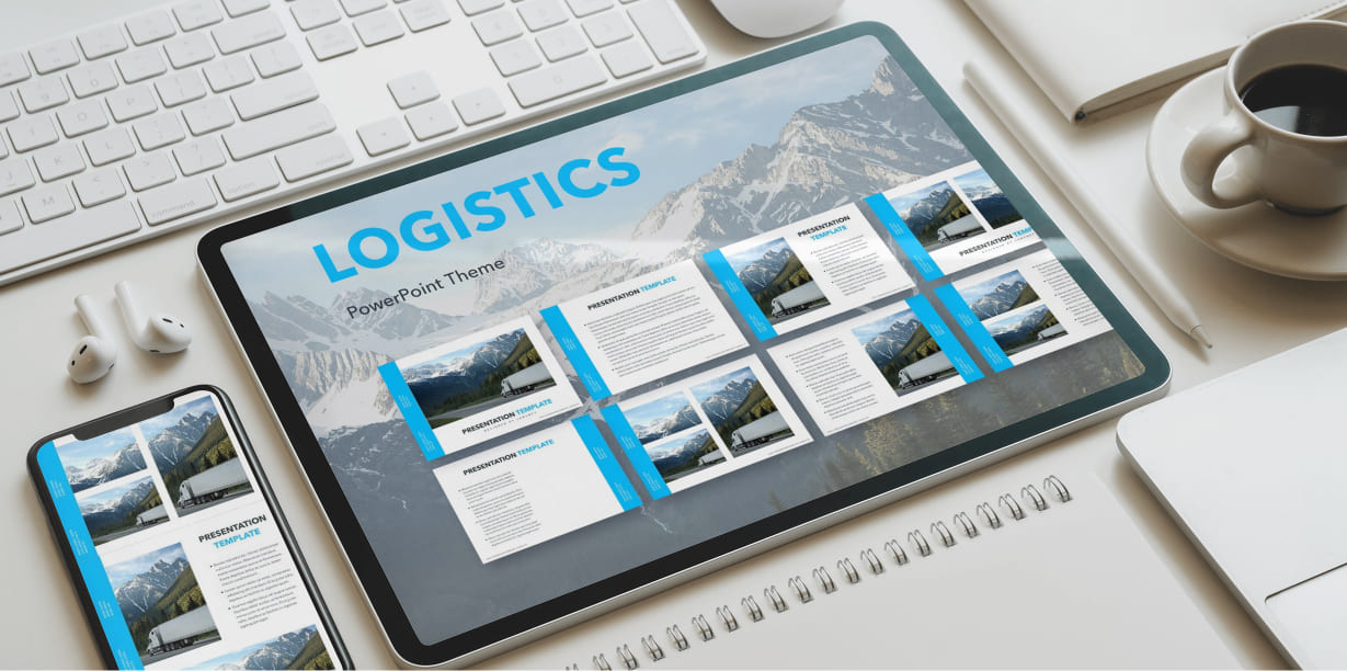 Logistics PowerPoint Theme by MasterBundles note preview mockup image.