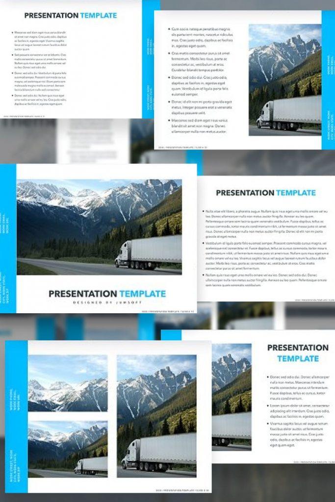 Logistics PowerPoint Theme by MasterBundles Pinterest Collage Image.